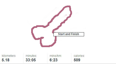 running in the shape of a penis